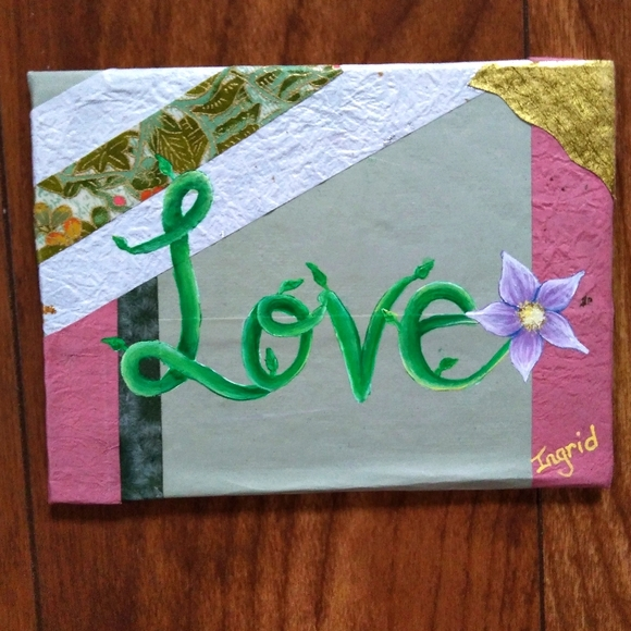 """""""Love"""" Painting with Flower on Japanese Paper"""
